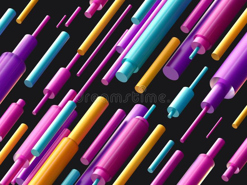3d render, digital illustration, colorful cylinder, black pink blue yellow abstract background, geometric pattern royalty free illustration
