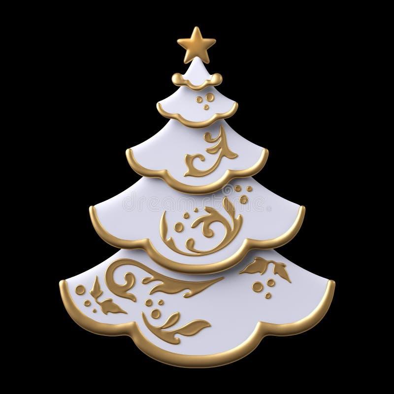 3d render, digital illustration, decorated Christmas tree stock illustration