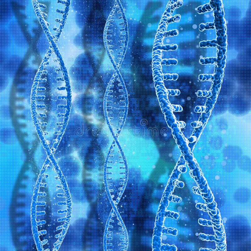 3D DNA strands on a binary code background royalty free illustration