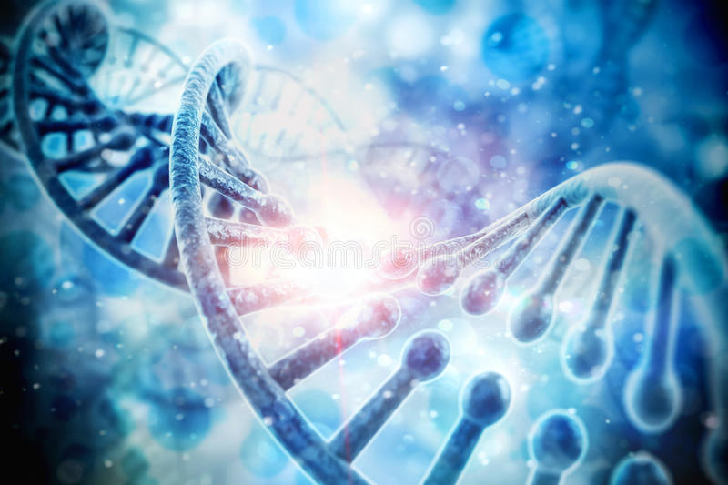 3d render of DNA structure. Abstract background stock illustration