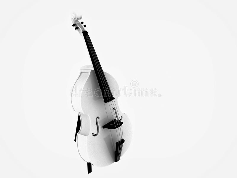 3d render of double bass guitar. On white background royalty free illustration