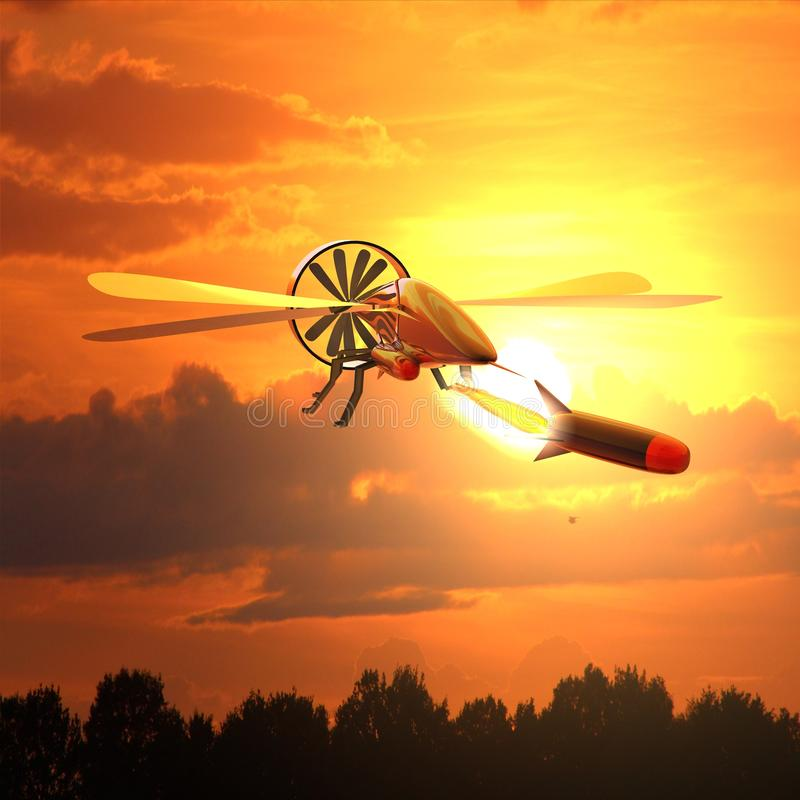 3D render of a Drone fires missile - modern warfare with unmanned remote controlled rocket launcher royalty free illustration