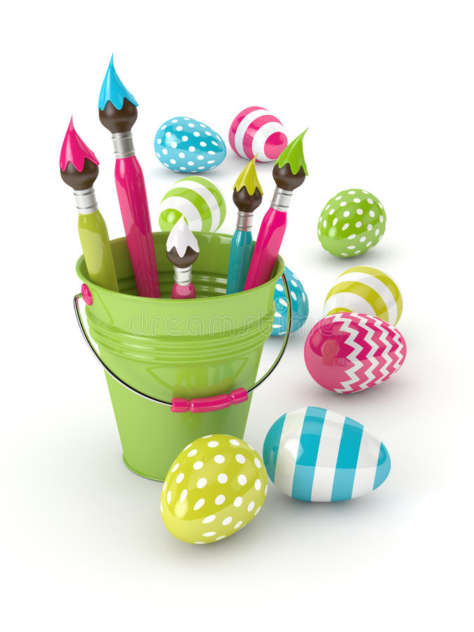 3d render of Easter eggs and paintbrushes in bucket royalty free illustration
