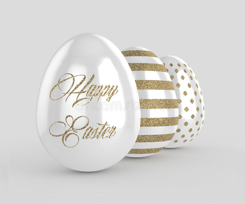 3d render of Easter glitter and pearl eggs royalty free illustration