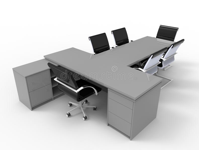 3D render - empty small office desk vector illustration