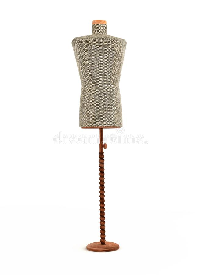 Fabric tailor`s dummy. 3D render of fabric tailor`s dummy on wooden stand - white background stock illustration