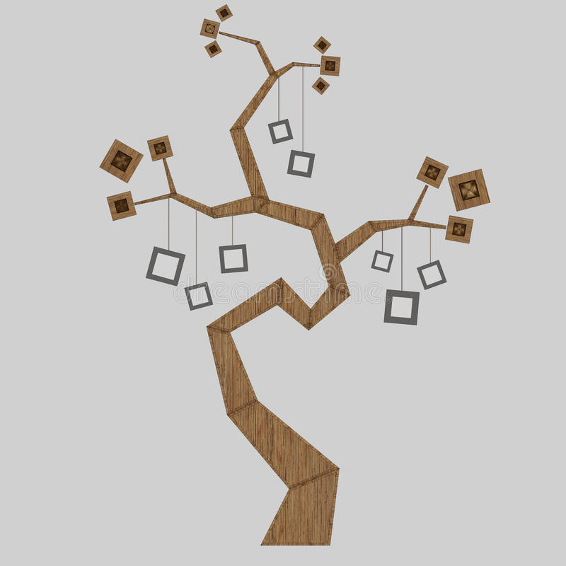 3D render of a family tree. 3D illustration of a family tree stock illustration