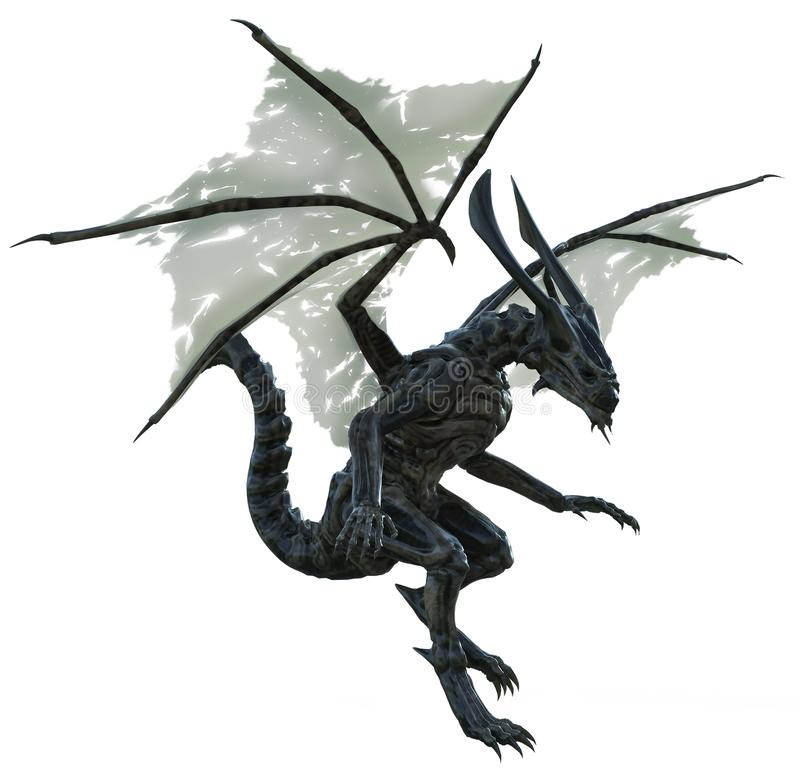 Alien dragon with tattered wings royalty free illustration