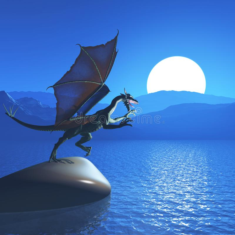 3D fantasy dragon against mountain landscape vector illustration