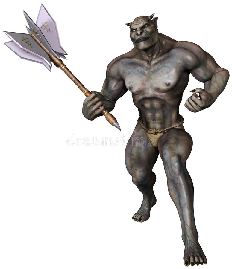 Fantasy orc with a steel mace. 3D render of a fantasy orc with a steel mace in a warrior pose vector illustration