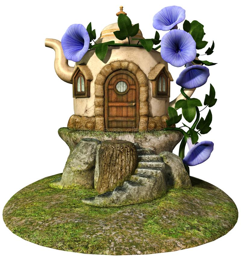 Fairytale teapot cottage. 3D render of a fantasy teapot cottage with blue flowers and green vines stock illustration