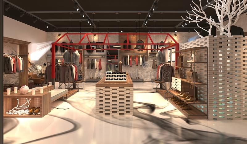 3d render of fashion shop. View vector illustration