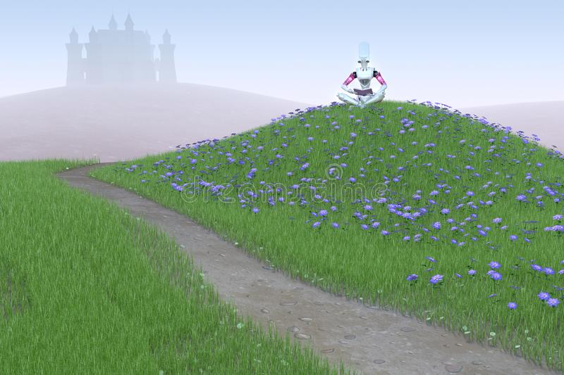 3D Render of Robot on Grassy Hill stock photo
