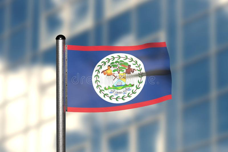 3d render of an flag of Belize. In front of an blurry background, with a steel flagpole stock illustration