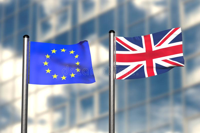 A 3d render of flags from Europe and Great Britain in front of an blurry background vector illustration
