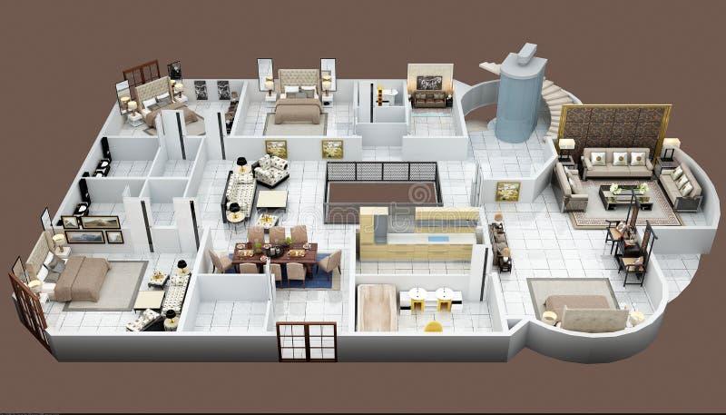 3d render of floor plan. From top stock illustration