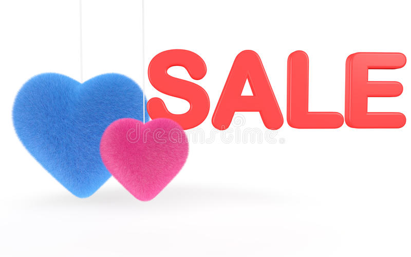 3d render of fluffy hearts with sale text royalty free stock image