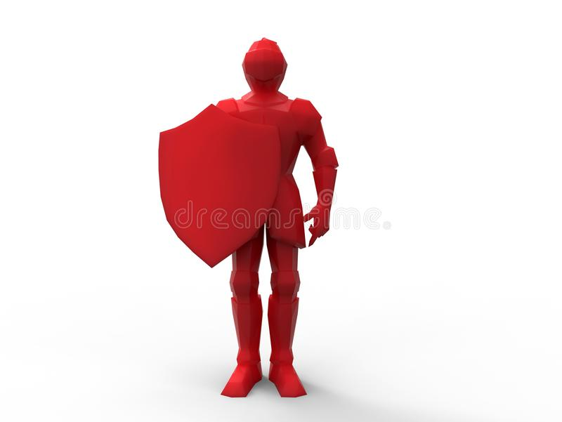 3D render - front view of a red knight royalty free illustration