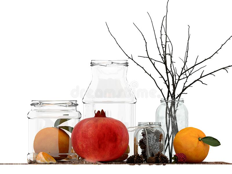 3d render of fruits concept. On white background royalty free illustration