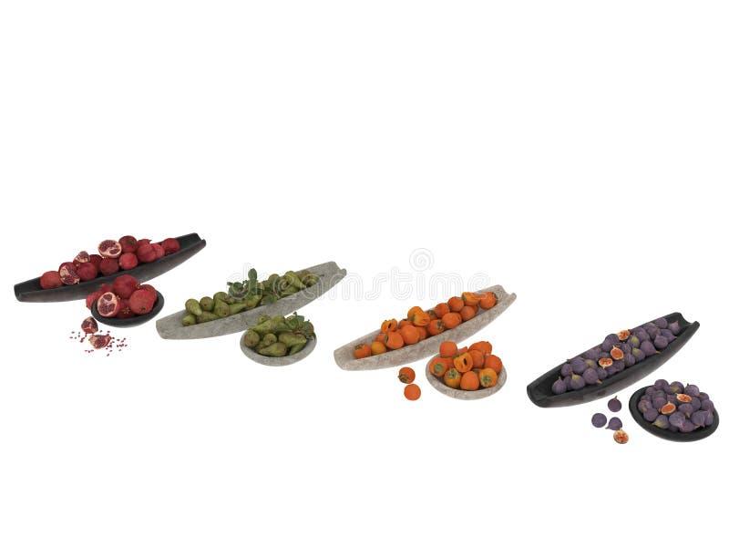 3d render of fruits in wooden case stock illustration