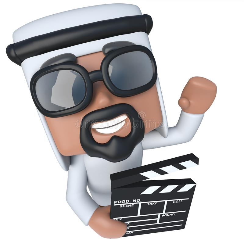 3d Funny cartoon Arab sheik character holding a movie maker clapperboard. 3d render of a funny cartoon Arab sheik character holding a movie maker clapperboard royalty free illustration