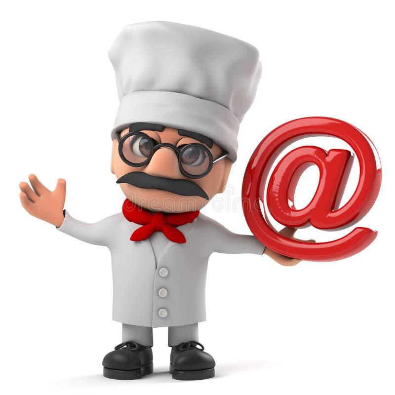 3d Cartoon Italian pizza chef character has an email address symbol. 3d render of a funny cartoon Italian pizza chef character holding an email address symbol stock illustration
