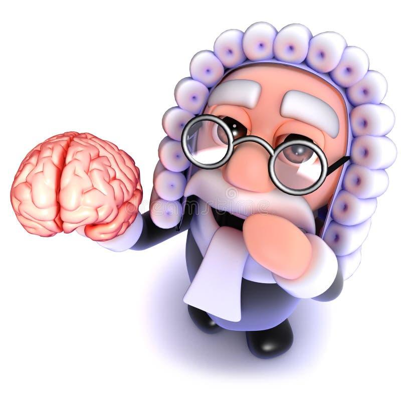 3d Funny cartoon judge character holding a human brain royalty free illustration