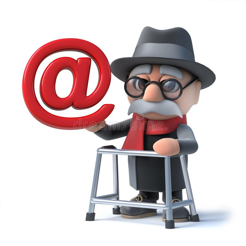 3d Funny cartoon old man with walking frame holding an email address symbol. 3d render of a funny cartoon old man character with a walking frame holding an email vector illustration