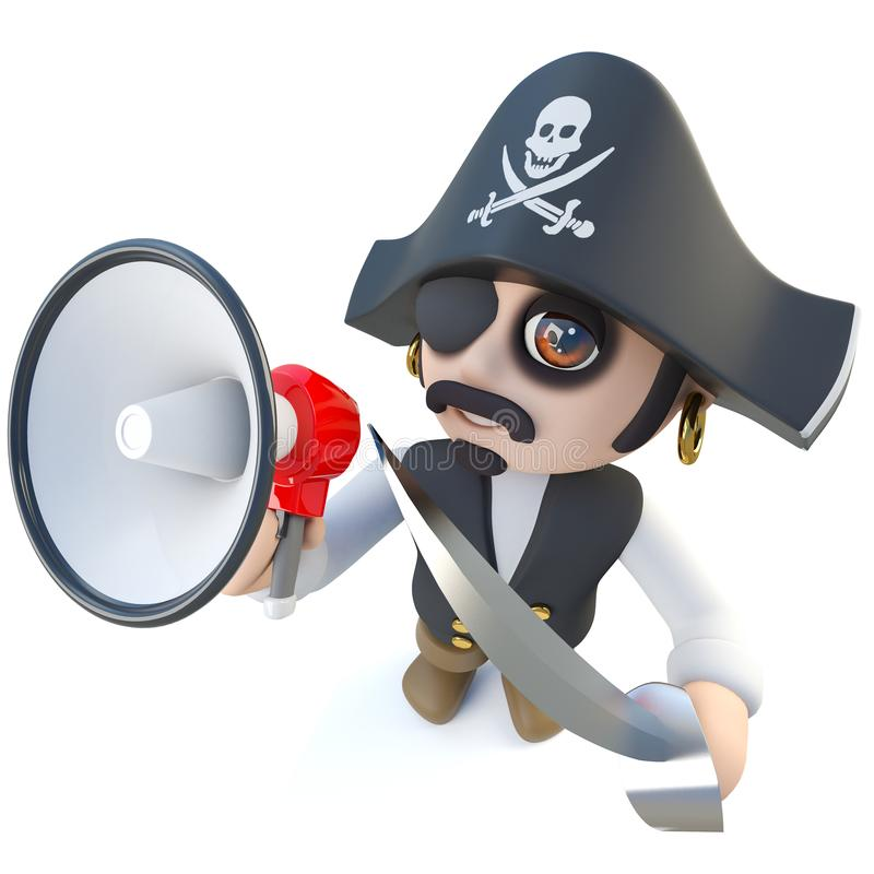3d Funny cartoon pirate captain character shouting through a megaphone vector illustration