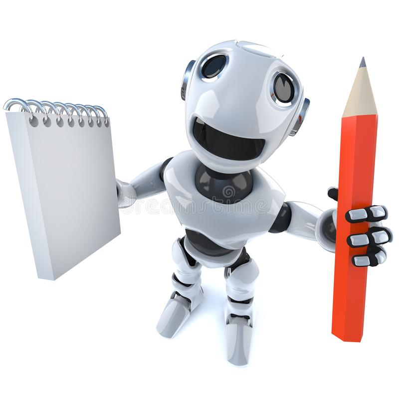 3d Funny cartoon robot character holding a notepad and pencil vector illustration