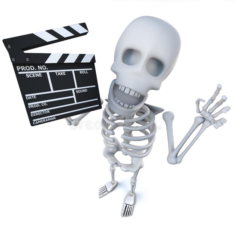 3d Funny cartoon skeleton character maing a movie with a clapperboard. 3d render of a funny cartoon skeleton character maing a movie with a clapperboard royalty free illustration