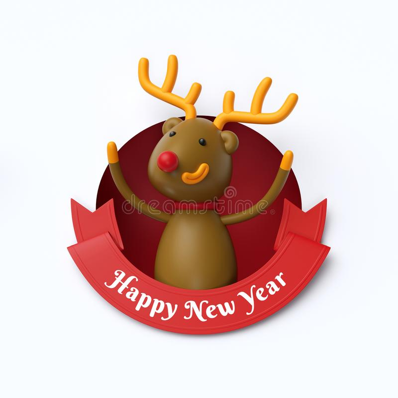 3d render, funny reindeer toy, inside round hole, Happy New Year royalty free illustration