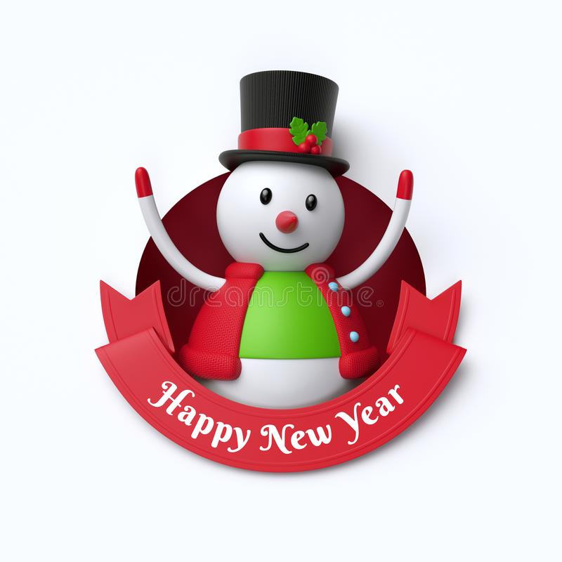 3d render, funny snowman toy, inside round hole, Happy New Year, red ribbon, holiday clip art isolated on white background vector illustration