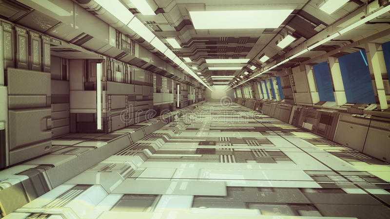 3d render. Futuristic spaceship interior royalty free stock images