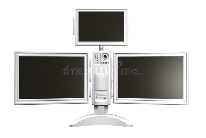Monitors. Screens Electronics. 3D rendering of three monitors on one stand royalty free illustration