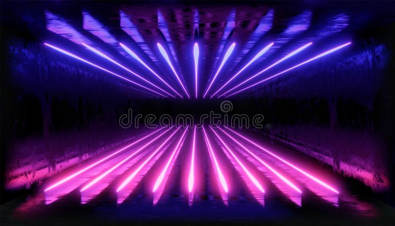 3d render. Geometric figure in neon light against a dark tunnel. Laser glow. royalty free illustration