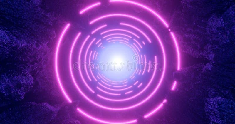 3d render. Geometric figure in neon light against a dark tunnel. Laser line glow. Neon backgrounds vector illustration