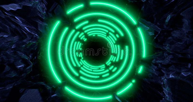 3d render. Geometric figure in neon light against a dark tunnel. Laser line glow. Neon backgrounds royalty free illustration