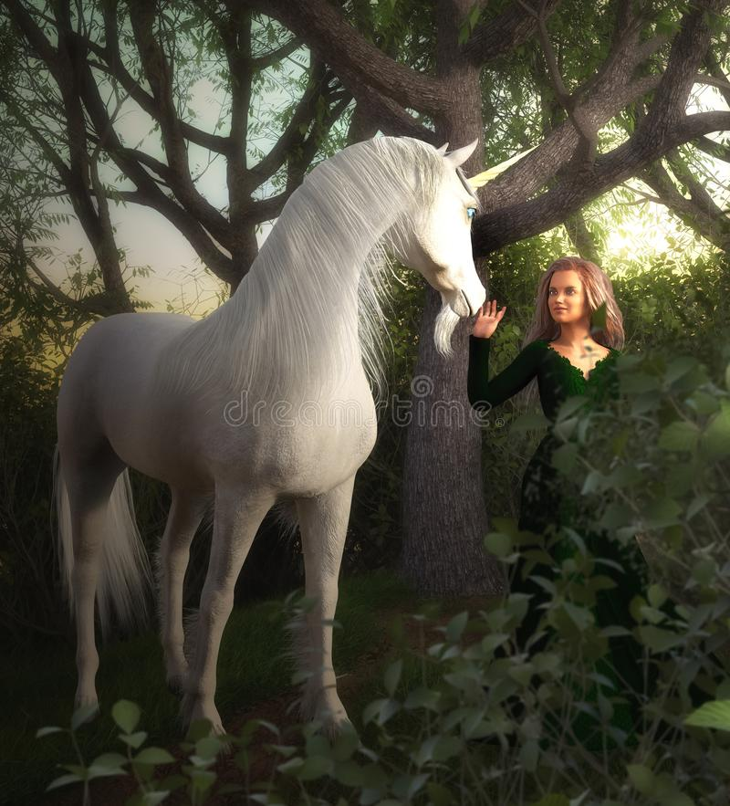 3D render of a girl and a unicorn in enchanted forest. 3d rendered scene of a girl and a unicorn meeting in enchanted forest stock illustration