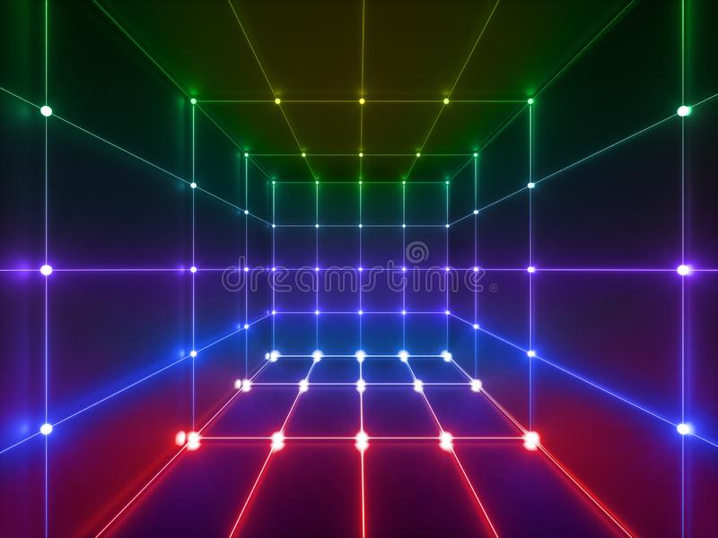3d render, glowing lines, neon lights, abstract psychedelic background, cube cage, ultraviolet, spectrum vibrant colors, laser. 3d render of glowing lines, neon stock illustration