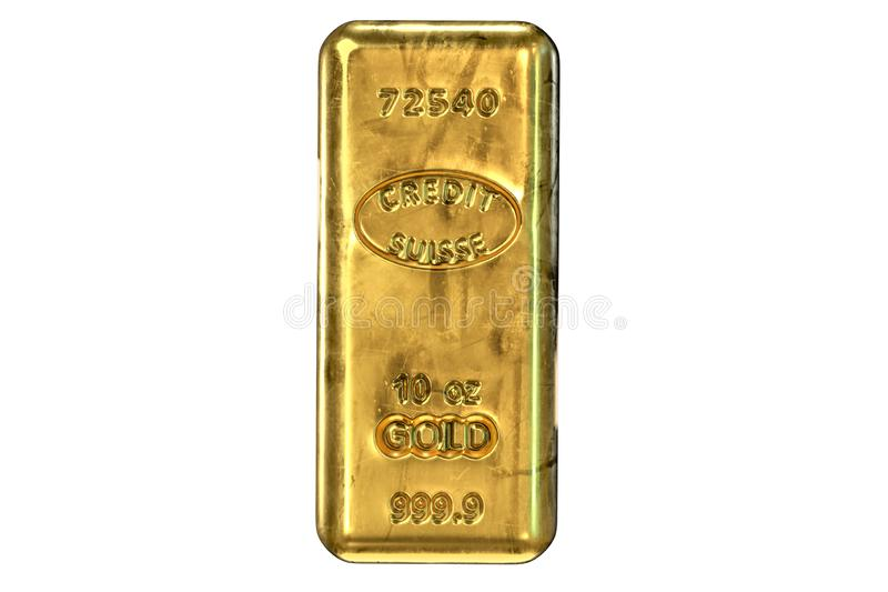 3D render of Gold Bar isolated on white vector illustration