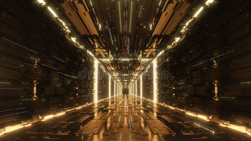 3d render gold Digital futuristic neon tunnel. 4k royalty free illustration