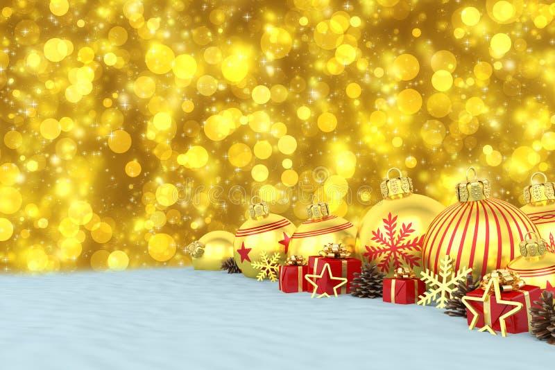 3d render - golden christmas baubles over bokeh background. 3d render of many golden christmas baubles and christmas decorations over blue bokeh background vector illustration