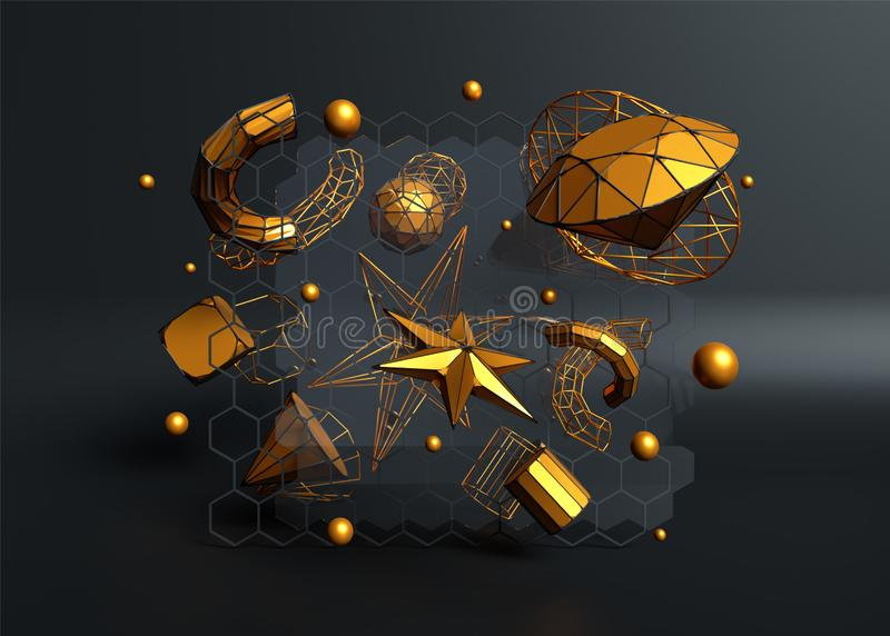 3D render of golden crystal elements such as spheres, star, tubes and diamond. royalty free illustration