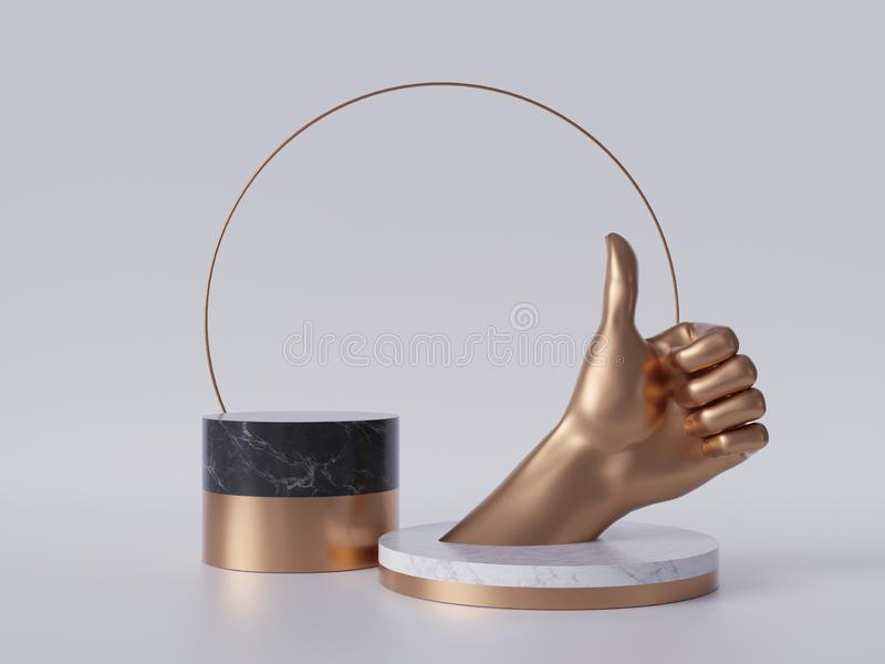 3d render, golden hand thumb up, like gesture, black marble pedestal isolated on white background, best quality, blank podium vector illustration