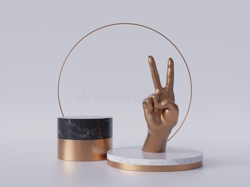 3d render, golden hand, victory gesture, black marble pedestal isolated on white background, minimalist concept, blank podium vector illustration