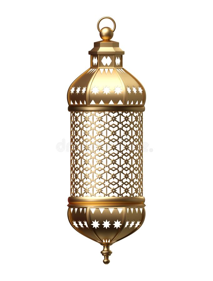 3d render, golden lantern, magical lamp, tribal arabic decoration, arabesque design, Ramadan Kareem, isolated object vector illustration