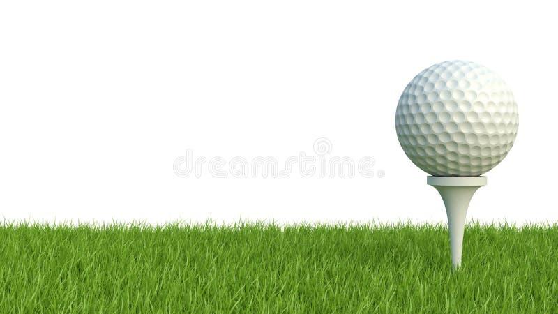 3d render of golf ball on green lawn on white stock illustration