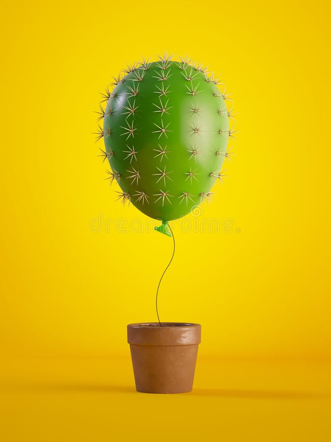 3d render, green cactus air balloon growing, potted plant, isolated on yellow background, metaphorical concept, design element,. 3d render of green cactus air vector illustration