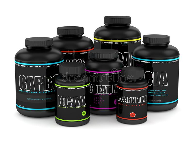 3d render of gym dietary supplements. Isolated over white background royalty free illustration